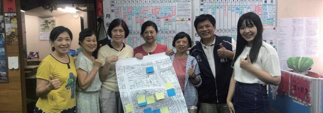 北科大建築系與當地里民互動,共同描繪社區願景。右二為民輝里里長陳威禎。