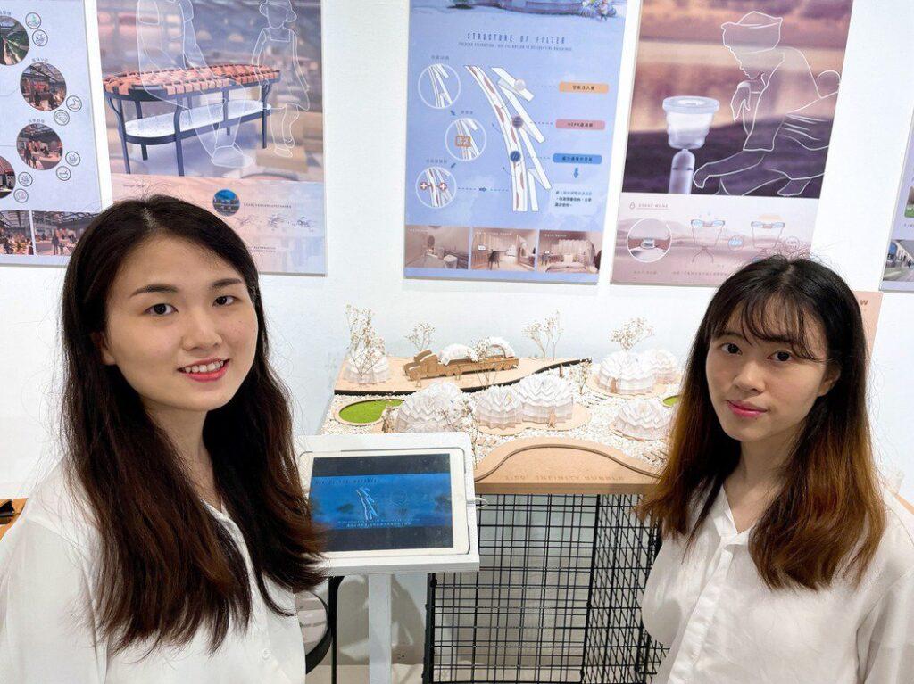 李佳渝(左)、李美欣設計空氣過濾隔離住宅Infinity bubble,活用三浦摺紙、磁浮原理,避免家庭及社區群聚感染。
