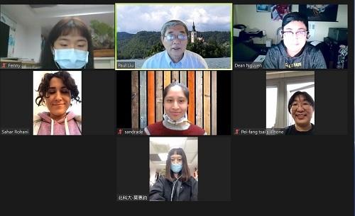 Zeno Effect:北科大工管系副教授蔡佩芳(二排右)、工管系學生黃郁婷(一排左)、莫惠鈞(三排)與洛杉磯州大師生團隊視訊合影